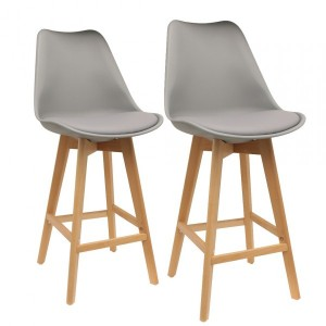 Lot de 2 tabourets de bar Scandina Gris
