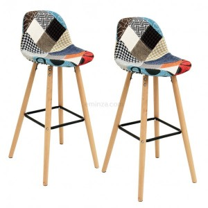Lot de 2 tabourets de bar Riga Patchwork Multicolore