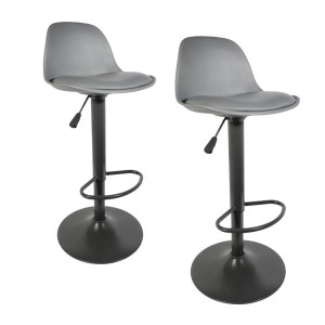 Lot de 2 tabourets de bar Isak Gris