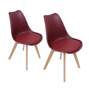 Set van 2 stoelen Stuffed Bordeauxrood
