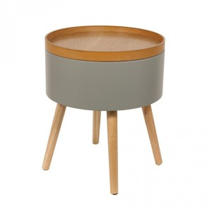 Table d'appoint Coffre Rond Grise