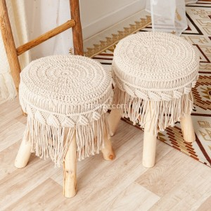 2er Set Hocker Macrame Eté Beige