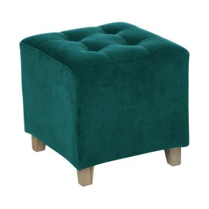 Hocker in Veloursoptik Leandre Petrolblau
