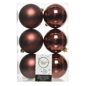 Lot de 6 boules de Noël (D80 mm) Alpine Rouge brun