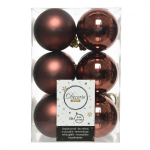 Lot de 12 boules de Noël (D60 mm) Alpine  Rouge brun