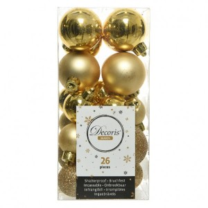 Lot de 26 boules de Noël assorties Alpine Or