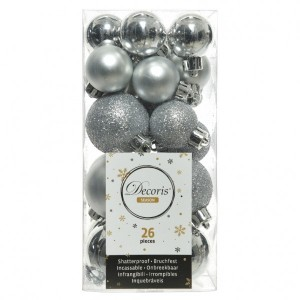 Lot de 26 boules de Noël assorties Alpine Argent