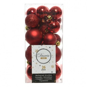 Lot de 26 boules de Noël assorties Alpine Rouge