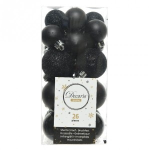 Lot de 26 boules de Noël assorties Alpine Noir