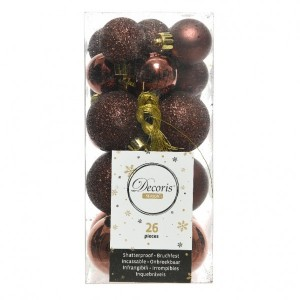 Lot de 26 boules de Noël assorties Alpine Rouge brun