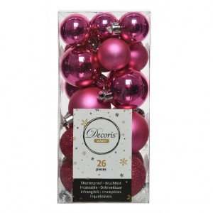 Lot de 26 boules de Noël assorties Alpine Rose flashy