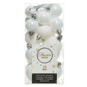 Lot de 26 boules de Noël assorties Alpine Blanc irisé