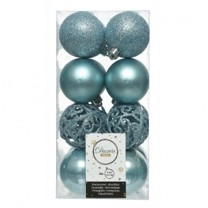 Lot de 16 boules de Noël (D60 mm) Alpine multi Bleu arctique