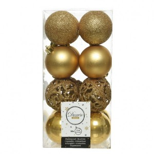Lot de 16 boules de Noël (D60 mm) Alpine multi jaune moutarde