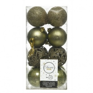Lot de 16 boules de Noël (D60 mm) Alpine multi Vert mousse