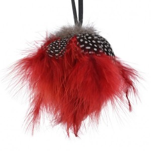 Suspension plume boule Rouge