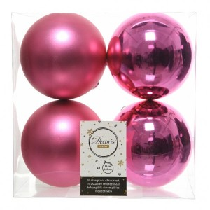 Lot de 4 boules de Noël (D100 mm) Alpine Rose flashy