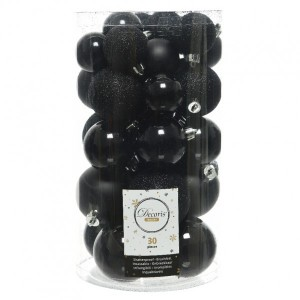 Lot de 30 boules de Noël assorties Alpine Noir