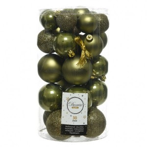 Lot de 30 boules de Noël assorties Alpine Vert mousse