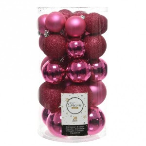 Lot de 30 boules de Noël assorties Alpine Rose flashy