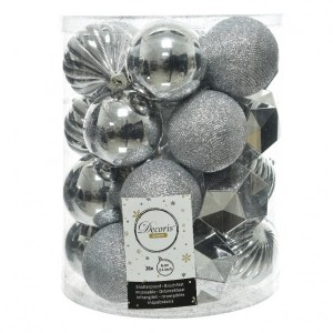 Lot de 26 boules de Noël (D60 mm) Alpine mix Argent