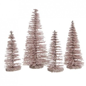 Lot de 4 sapins Ulrika Rose poudré