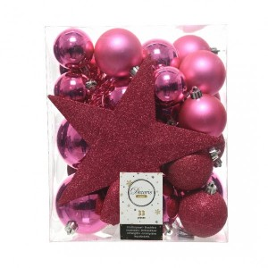 Kit de décoration de sapin de Noël Novae Rose flashy