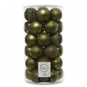Lot de 37 boules de Noël (D60 mm) Alpine mix Vert mousse