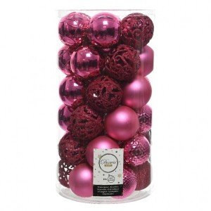 Lot de 37 boules de Noël (D60 mm) Alpine mix Rose flashy