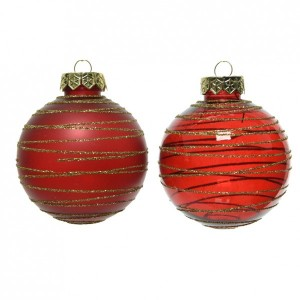 Lot de 12 boules de Noël (D80 mm) Mistra Rouge