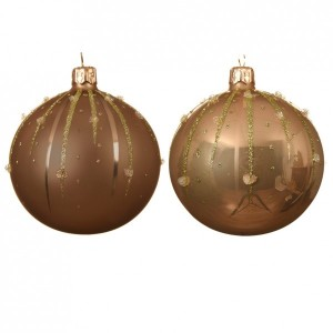 Lot de 6 boules de Noël (D80 mm) Goutella Beige