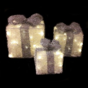 Set de 3 regalos cinta gris luminoso Blanco cálido 65 LED