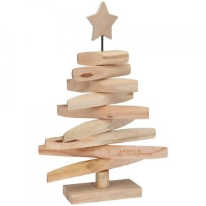 Sapin de table en bois Noël H47 cm Naturel