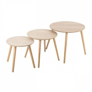 Lot de 3 tables à café Mileo Rond Bois