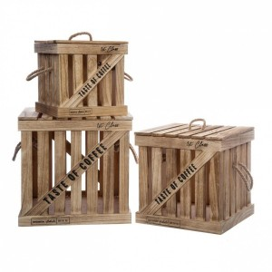 Lot de 3 cagettes Colonial Beige