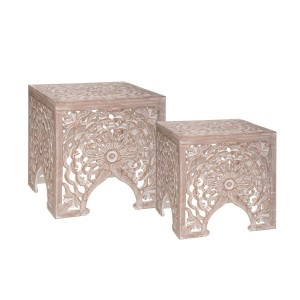 Lot de 2 tables d'appoint Terre Beige