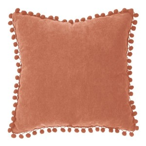 Coussin (40 cm) Pompons Rouge terracotta