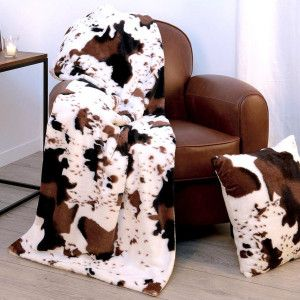 Plaid polaire (160 cm) Vache Marron