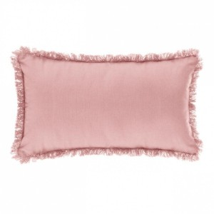 Coussin rectangulaire Frange Rose