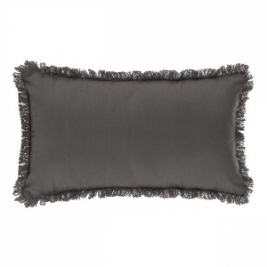 Coussin rectangulaire Datara franges Gris anthracite