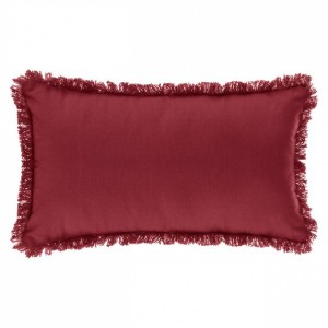 Coussin rectangulaire Frange Rouge