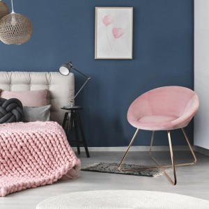 Fauteuil effet velours Karl Rose
