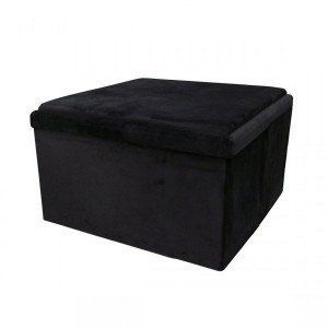 Pouf pliant table Double Velouro Noir