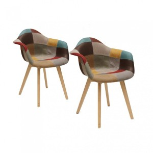 Lot de 2 fauteuils Louisiane Patchwork Multicolore