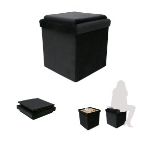 Pouf pliant table Velouro Noir