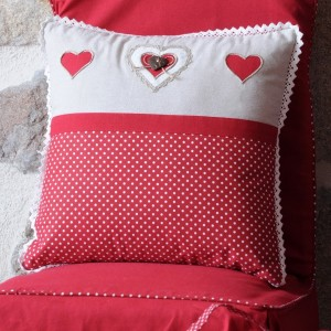 Coussin (40 cm) Lyna pois Rouge