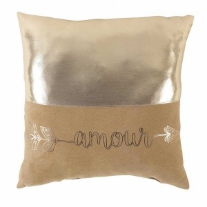Coussin (40 cm) Metallic Love Or rose