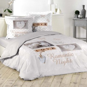 Funda nórdica y dos fundas para almohadones algodón (240 cm) Romantic Night Topo