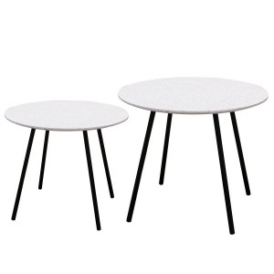 Lot de 2 tables d'appoint Pluton Blanches