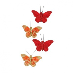 Lot de 4 papillons Koh Samui Rouge et orange